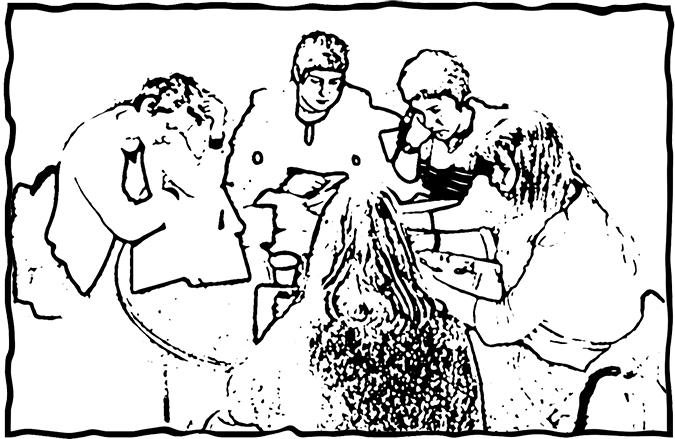 Grupp elever som sitter runt ett bord och arbetar.
