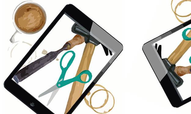 Bild på sax, trämejsel och hammare på iPad.