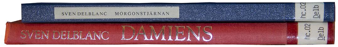 Bild på bokryggar, Damiens och Morgonsjärnan av Sven Delblanc.