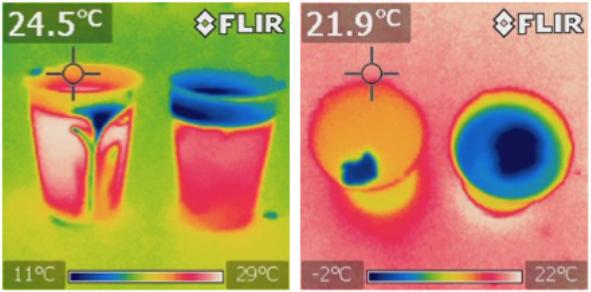 Bilder på muggar vid olika temperaturer.