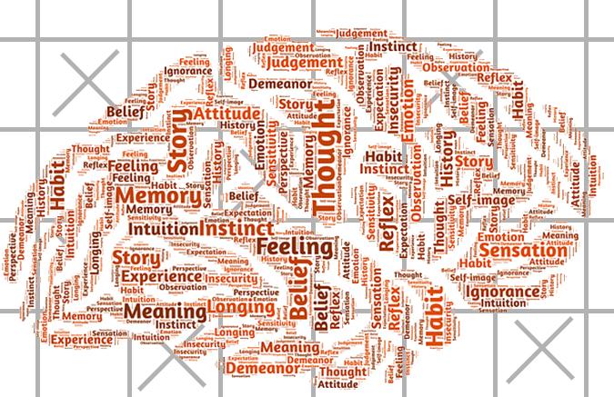 Matris på bakgrund av en bild på hjärna med ordmoln (Memory, thought, feeling med mera).