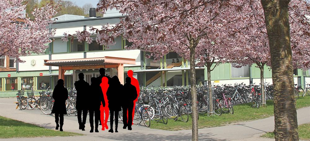 Två röda och sex svarta silhuetter framför en skola.